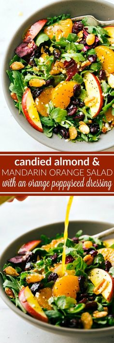 A great holiday entertaining salad -- mandarin orange, apples, cranberries, feta cheese, and easy stovetop candied almonds all covered in a delicious orange poppyseed dressing. via chelseasmessyapron.com