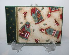 Christmas Birdhouses on Cream Quilted Fabric by ForQuiltsSake