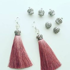 Gorgeous tassel crown caps to match my pink and grey 7cm tassels. A royal match made in craft heaven... and...no I am not talking about Harry and Megan  #crafts #craftsupplies #diyjewellery #tassels #beadcaps #jewellerysupplies
