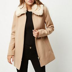 Camel faux fur collar swing coat