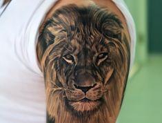Best lion head tattoo idea upper shoulder tattoo, lion shoulder tattoo, shoulder tattoos for Tribal Lion Tattoo, Lion Head Tattoos, Mens Lion Tattoo, Lion Tattoo Design, Leo Tattoos, Animal Tattoos, Tattoo Designs Men, Lion Tattoos For Men, Lion Arm Tattoo