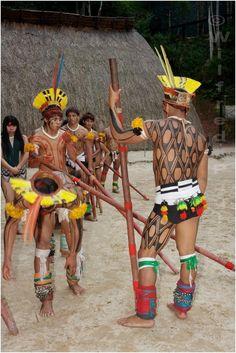 Kuikuro indians Xingu Brazil.