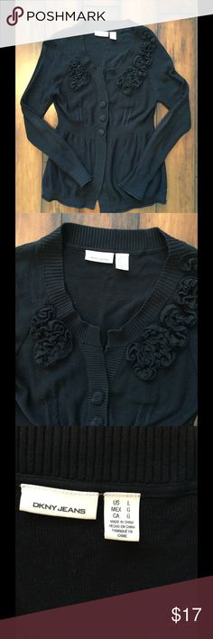 Black sweater Black sweater by dkny. Super cute with embellished flowers. Preloved.  Has a tiny bit of piling. DKNY Sweaters