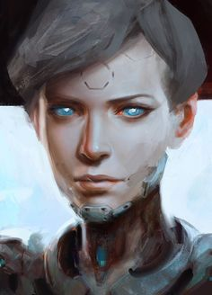 Cyborg Girl, Yuan Cui on ArtStation at https://www.artstation.com/artwork/bnkRo