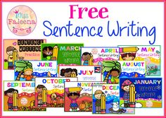 Free Sentence Writing. These are FREE samples from my Sentence Writing Growing Bundle.  There are 10 pages of sentence writing worksheets in this product. These pages are great for pre-K, kindergarten and first grade students. Children will practice writing the correct sentences. Children are encouraged to use thinking skills while improving their comprehension and writing skills. These pages are great for morning work, word work and literacy centers.
