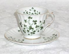 Irish Shamrock Queens Porcelain 6 oz Cup and Saucer by Fielder