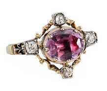 Georgian Ornate Amethyst Diamond Ring