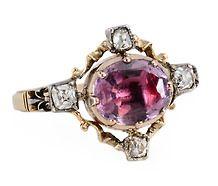 Georgian Ornate Amethyst Diamond Ring #jewellery #jewelry #ring