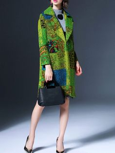 Multicolor V neck Long sleeve Shift Buttoned Wool Blend Coat
