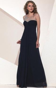 ddc71e99caae Chiffon Round Neck Semi-sheer Beaded A-line Formal Dress