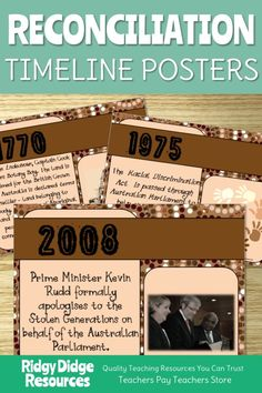 Using timelines in your classroom is a key requirement of the Australian HASS curriculum. Incorporate this Australian Aboriginal Reconciliation Timeline into your classroom and you will not only be meeting these history requirements but you will also have a great display in your classroom that can lead to further language-rich activities and investigations, perfect for National Reconciliation Week or NAIDOC week! Aboriginal Art For Kids, Aboriginal Education, Aboriginal History, Aboriginal Culture, History Education, Religious Education, Teaching History, Teaching Resources, Primary Teaching