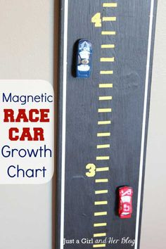 Magnetic Race Car Growth Chart by Just a Girl and Her… Boy Car Room, Race Car Room, Baby Boy Rooms, Baby Boy Nurseries, Baby Room, Race Car Nursery, Car Themed Nursery, Kids Rooms, Girl Room