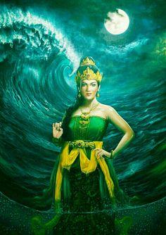 Ratu kidul Fantasy Paintings, Indian Paintings, Sea Queen, World Mythology, Indonesian Art, Shiva Art, Fantasy Art Women, Angel Art, Galaxy Wallpaper