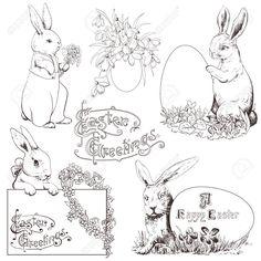 イースターのウサギを設定します。手描きモノクロ イラストを白で隔離されました。 ロイヤリティフリークリップアート、ベクター、ストックイラストレーション。. Image 17933873.