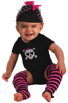 Black Skull Pink Pirate Skeleton Fancy Dress Up Halloween Baby Child Costume Cop Costume For Kids, Newborn Halloween Costumes, Toddler Costumes, Baby Costumes, Baby Halloween, Pirate Halloween, Funny Halloween, Costume Halloween, Halloween Ideas