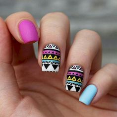 Try out something different for every one of your nails and you will be surprised. You may also customize your nails a lot simpler. In the event the nail is short it is far better to go for a design acceptable for that nail. Fake nails may also have art. Fabulous Nails, Perfect Nails, Gorgeous Nails, Love Nails, Pink Nails, My Nails, Tribal Nail Designs, Tribal Nails, Nail Art Designs