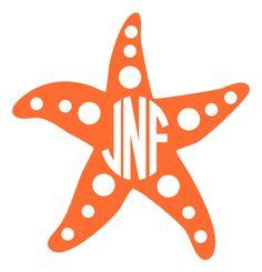 Starfish with Monogram Vinyl Decal Cricut Vinyl, Vinyl Decals, Vinyl Monogram, Monogram Letters, Anchor Monogram, Silhouette Projects, Silhouette Design, Silhouette Files, Used Vinyl