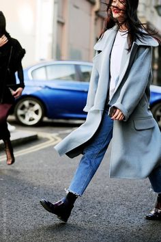 Tired of black and neutrals this fall? Try a baby blue coat for something fresh and chic! #falloutfits