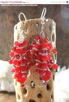 Dark Red Chandelier Earrings, Hooks, Posts, Clip ons, Lever Backs ...
