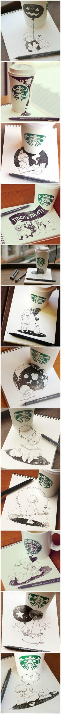 【咖啡的奇幻世界】日本插画家Tomoko Shintani 在喝完咖啡的时候就会做起他的老本行就地取材,看看他的作品吧!下次再喝咖啡的时候,顺便拿一支画笔,随时变身艺术家吧!「转」 . 3292 ^ Welcome To My Website: http://www.aliexpress.com/store/919173
