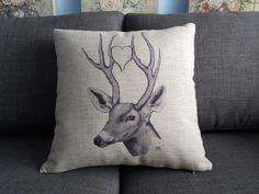 "Square decor cotton linen throw pillow case / cushion cover / pillow cover / cushion case black white deer 18 ""x18 """