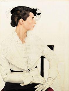 Bernard Boutet de Monvel, Portrait de Delfina en tailleur Piguet, 1936. Oil on…