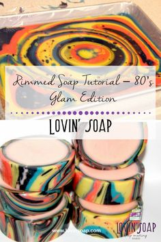 Soap Tutorial - 80 s Glam Edition Rimmed Soap Tutorial Glam Edition - Soap Soap Tutorial, Natural Exfoliant, Natural Soaps, Soap Maker, Homemade Soap Recipes, Homemade Cards, Lotion Bars, Handmade Soaps, Handmade Headbands