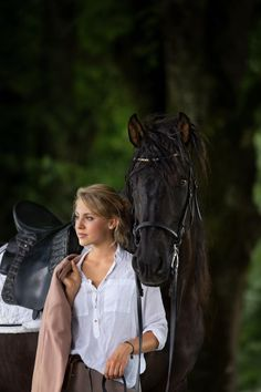 black PRE horse with blond equestrian girl. Perfect equestrian fashion, Swarovski browband by MagicTack. #equestrianfashion Equestrian Girls, Equestrian Style, Equestrian Fashion, Dressage, European Fashion, Riding Helmets, Outfit Of The Day, Your Style, Fashion Accessories