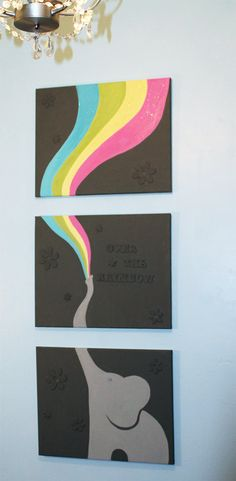 48x20 Elephant triptych painting on by TheAcrylicARTillery on Etsy, $125.00
