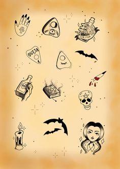 halloween flash sheet by mariatijerasart on etsy tattoo flash pinterest tattoo tatting. Black Bedroom Furniture Sets. Home Design Ideas