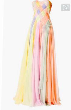 Robe de soiree couleur arc en ciel