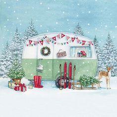 Ambiente Serviette Winter Camping 33 cm x 33 cm Christmas Scenes, Noel Christmas, All Things Christmas, Winter Christmas, Vintage Christmas, Christmas Wreaths, Christmas Crafts, Christmas Decorations, Christmas Ornaments