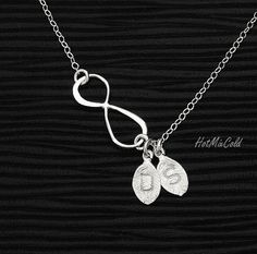 Infinity Necklace, TWO Monogram Necklace, Personalized leaf Initial jewelry, Sterling silver Necklace, Valentine's Gift, Couple Necklace on Etsy, $30.00