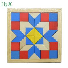 Fun Geometry Rhombus Tangrams Logic Puzzles Wooden Toys for Children Training Brain IQ Games Kids Gifts
