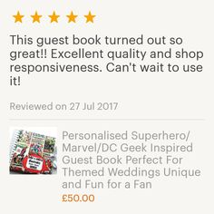 Wow what a fantastic lovely review, thank you so much for your review & purchase 😘 #craftyjujudesigns #craftyjujusweddingtreats #marvel #weddingguestbook #personalised #etsy #dc #geek #guestbook #specialorder #review #fivestarreview #uniquegift