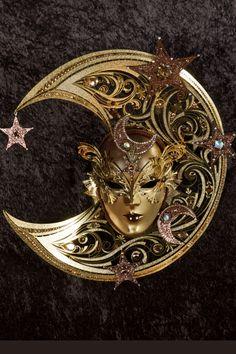 Celestial maschera veneziana, maschera del carnevale veneziano, originale in cartapesta