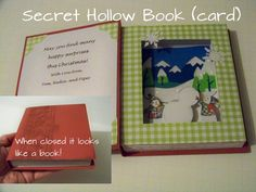 Secret Hollow Book-- a card with a secret little vignette inside.  Great for giving a gift card (room for it on the left page).  Tutorial with cut sizes and link to sources.  #WithGlitteringEyes #Cricut