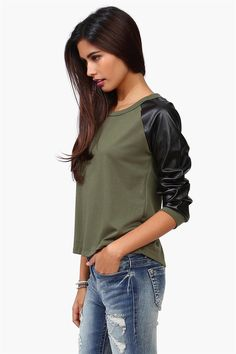 Leather Sweatshirt in Olive
