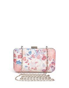 Beta Lunar Floral Print Box Clutch Bag