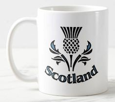 Scottish Thistle mug ( Scotland) 11 oz large handle ceramic Tea/Coffee Mug. can be personalised Scottish Thistle, Irish Men, Scotland, Coffee Mugs, Handle, Ceramics, Canning, Unique Jewelry, Tableware