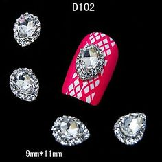 Kaifina 10pcs Water Drop Crystal With Rhinestone Alloy For DIY Finger Tips Accessories Nail Art Decoration ** Read more reviews of the product by visiting the link on the image.