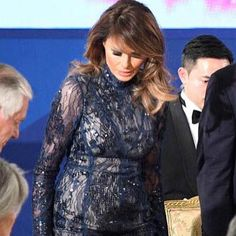 Our beautiful First Lady wore in South Korea  a beautiful @j_mendel #jmendel long sleeve sequined lace turtleneck gown . She looks absolutely stunning ⭐️ #melaniatrump #melaniatrumpstyle #melaniatrumpfashion #hervepierre #donaldtrump #southkorea #asia #maga #potus #flotus #america #history #firstlady