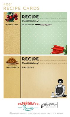 *The Graphics Fairy LLC* ~ FREE recipe cards
