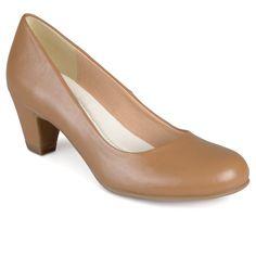 Women's Journee Collection Round Toe Comfort Fit Classic Kitten Heel Pumps - Chestnut 9, Dark Chestnut