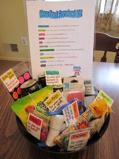 New Dad Survival Kit -good jumping off point. Would add more stuff, like beer, coffee, Advil. Thing 1, New Dad Survival Kit, Pregnancy Survival Kit For Mom, Gifts For New Dads, Good Dad Gifts, Funny New Dad Gifts, New Daddy Gifts, Fathers Gifts, Fun Gifts