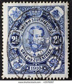 stock photo : UNION OF SOUTH AFRICA-CIRCA 1910: Postage stamp of the Union of South Africa with the head of British King George, circa 1910