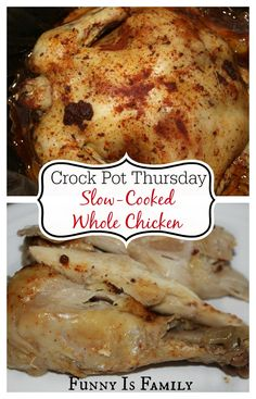 You won't believe how easy and delicious this Crockpot Whole Chicken recipe is! It's a healthy dinner idea your whole family will love!
