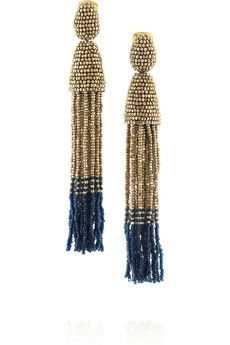 Oscar de la Renta Beaded tassel clip earrings | NET-A-PORTER