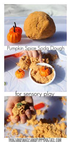 pumpkin spice soda dough play recipe for sensory play