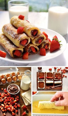 Strawberry Nutella French Toast Roll Up – a breakfast treat that tastes like an awesome doughnut! So easy and fast to make. Strawberry Nutella French Toast Roll Up – a breakfast treat that tastes like an awesome doughnut! So easy and fast to make. French Toast Roll Ups, Nutella French Toast, French Toast Receta, French Toast Recipes, Delicious Desserts, Dessert Recipes, Yummy Food, Breakfast Recipes, Breakfast Toast
